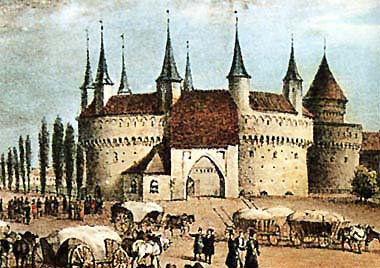 Krakow's barbican, view of the 18th century
