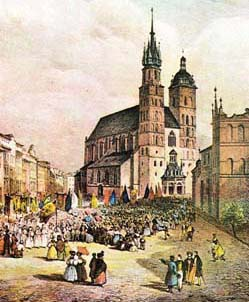 Church of the Virgin Mary in Krakow, a 19th-century illustration