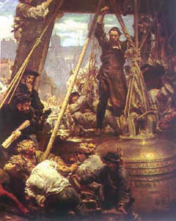 making of the Sigismund bell in Krakow, painted by Jan Matejko