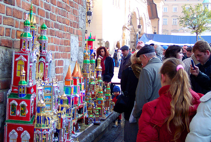 yearly contest for the Nativity scene builders on the central square of Krakow