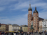 Krakow's basilica of the Virgin Mary at the Rynek Glowny grand square