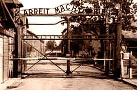 The main gate to the Auschwitz nazi camp