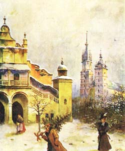 Krakow's central square before Christmas by the end of the 19th century