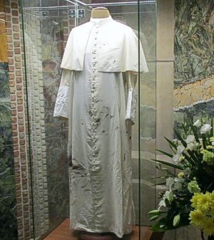 John Paul II robe in the JPII Sanctuary in Krakow, Poland
