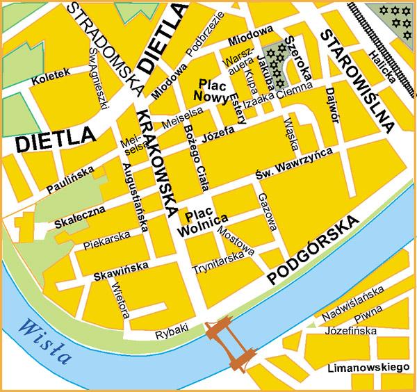 Krakow's Kazimierz District - Map on grant street map, zagreb street map, valencia street map, auckland street map, franklin county street map, lubeck street map, spruce street map, mountain street map, richmond street map, sydney street map, missouri street map, marion street map, santorini street map, lyon street map, bristol street map, newcastle street map, riga street map, morgan street map, birmingham street map, auschwitz poland map,
