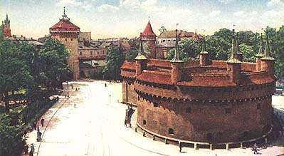mighty barbican, part of Krakow's formidable city walls