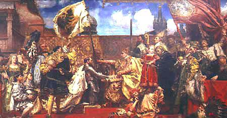 King Sigismund I accepts the oath of allegiance from Albrecht I, prince of Prussia