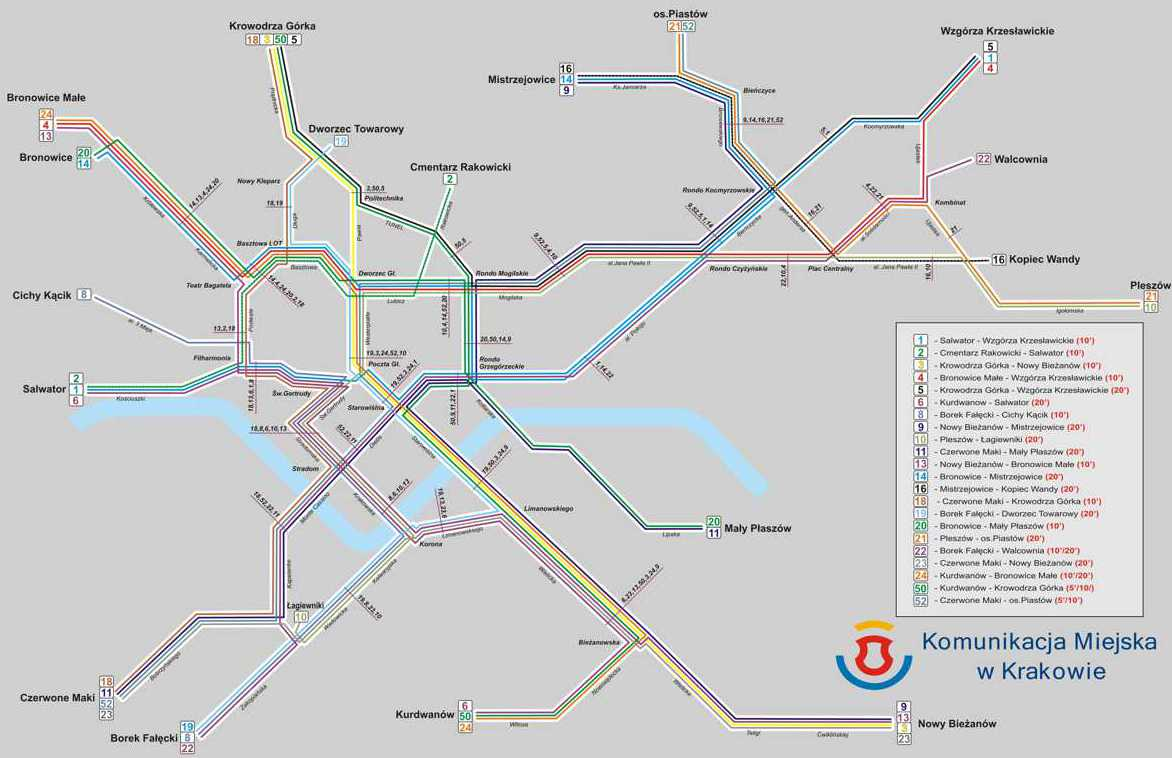 Krakow map of tram lines