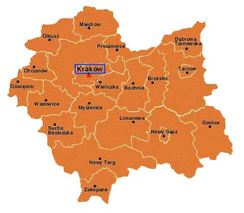 map of the Krakow region