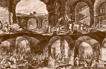 Wieliczka salt mine in the 18th-century