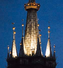 roof of Krakow's St. Mary church with golden crown