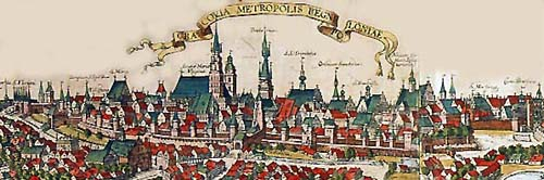 View of Krakow's Old Town in the 16th c.