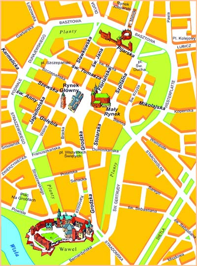 Map of the Old Town historic district of Krakow