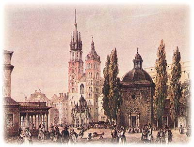Krakow's Rynek Glowny in the 19th century