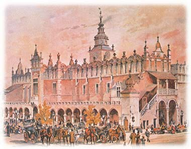Cloth Hall in Krakow, a Renaissance shopping center, in the late 19th century